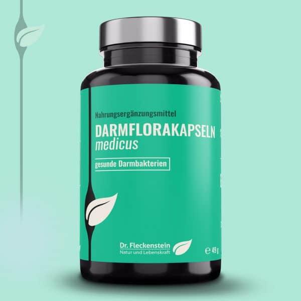 Produkt: Darmflorakapseln medicus von Dr. Fleckenstein. Natürlich gesunde Pflanzenextrakte.