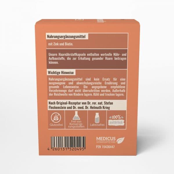 Haar-Naehrstoffkapseln medicus von Dr. Fleckenstein. Gesunde Haare - schoene Naegel. Produktbeschreibung und Verzehrempfehlung.