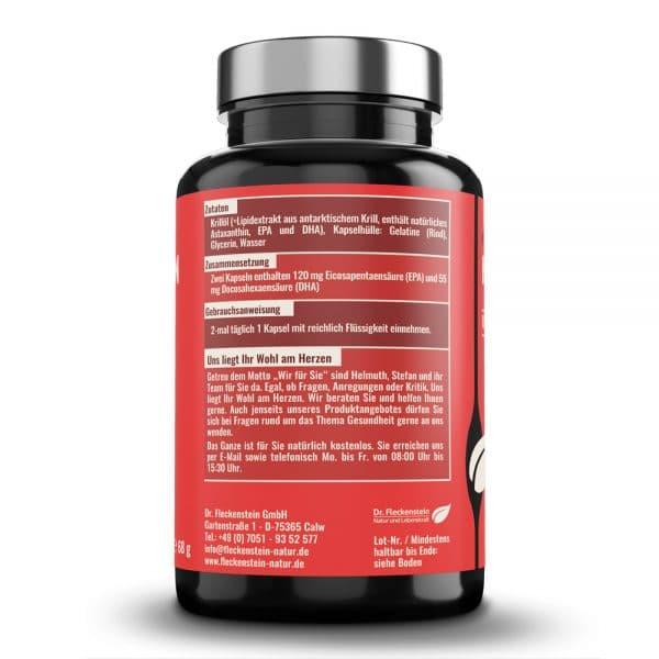 Krilloelkapseln von Dr. Fleckenstein. Omega-3-Fettsaeuren – Astaxanthin. Zutaten und Zusammensetzung.