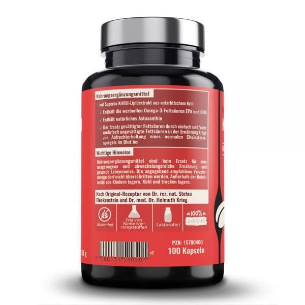 Krilloelkapseln von Dr. Fleckenstein. Omega-3-Fettsaeuren – Astaxanthin. Produktbeschreibung und Verzehrempfehlung.