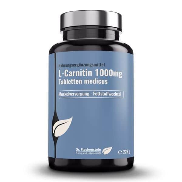 Produktansicht: L-Carnitin 1000mg Tabletten medicus von Dr. Fleckenstein. Muskelversorgung - Fettstoffwechsel.
