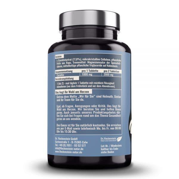 L-Carnitin 1000mg Tabletten medicus von Dr. Fleckenstein. Muskelversorgung - Fettstoffwechsel. Produktbeschreibung und Verzehrempfehlung.