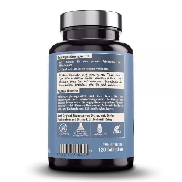 L-Carnitin 1000mg Tabletten medicus von Dr. Fleckenstein. Muskelversorgung - Zutaten und Zusammensetzung.