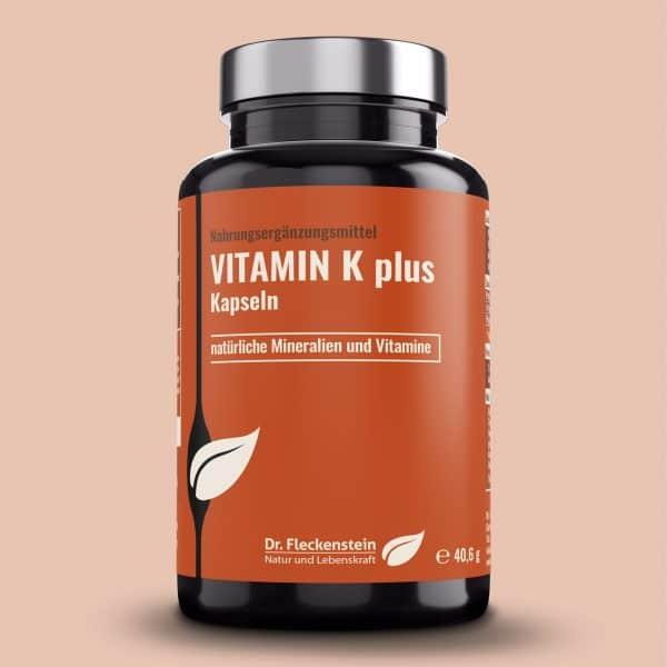 Nahrungsergänzungsmittel Vitamin K plus Kapseln. Frontansicht.
